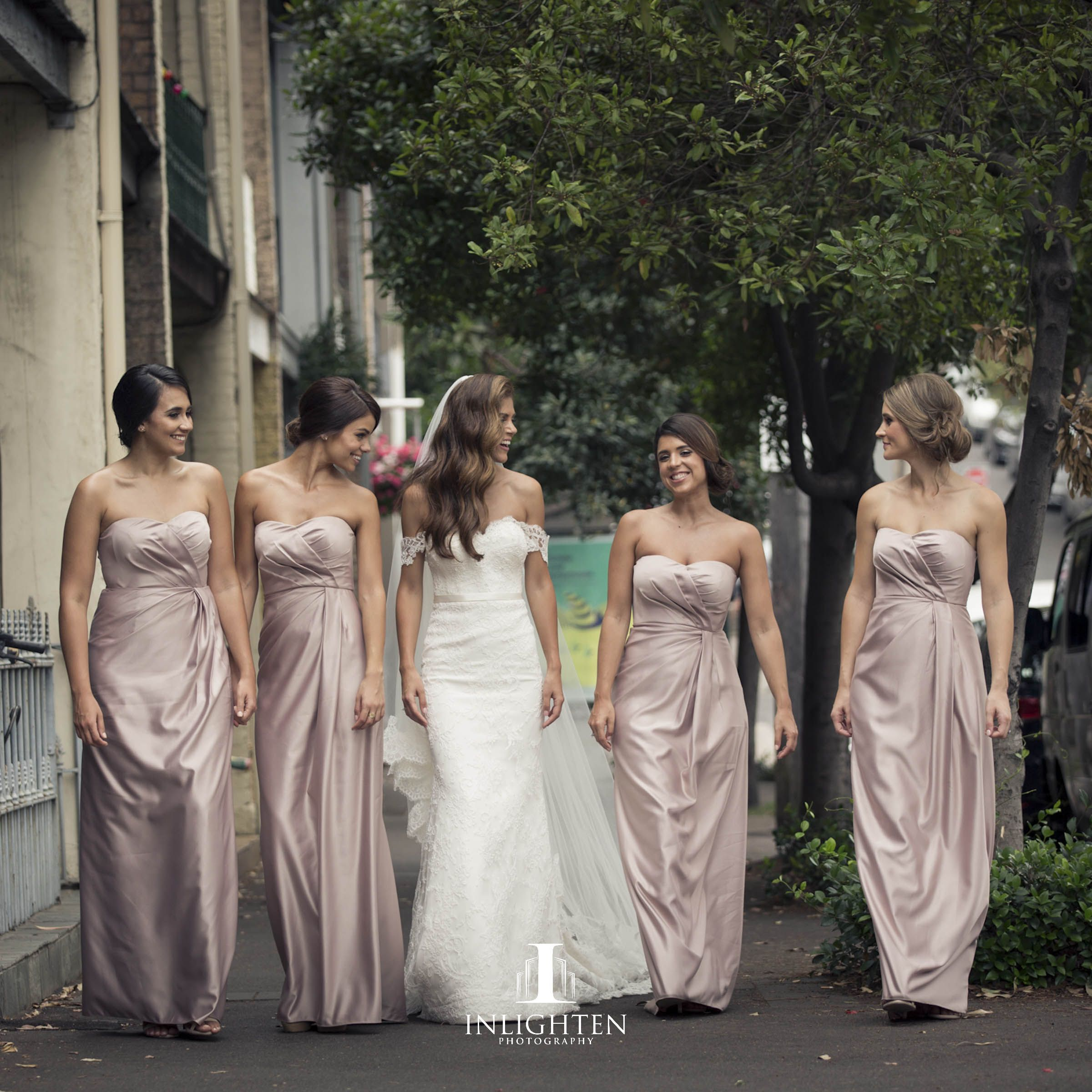 ae65779391df5 Our gorgeous bride Kystal Chronis on her wedding day – bridesmaids wearing  our blush Siobhan Dress.  realrunway  whiterunway  realwedding