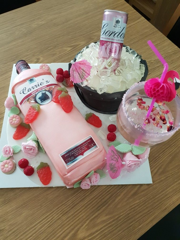 This Is A Pink Gin Iinspired Cake That I Made The Labels On
