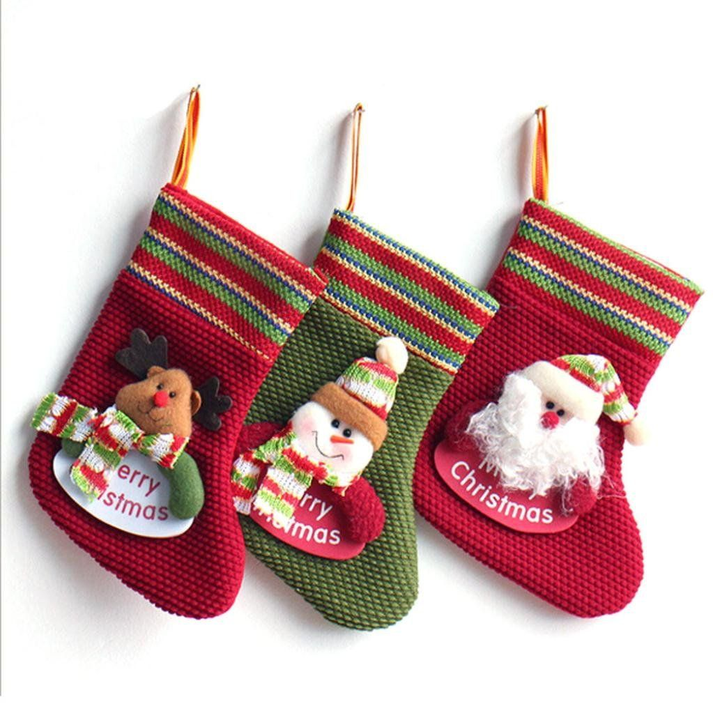 Christmas Socks For Tree Decorations Gift Bag Snow Man New Year Gifts A