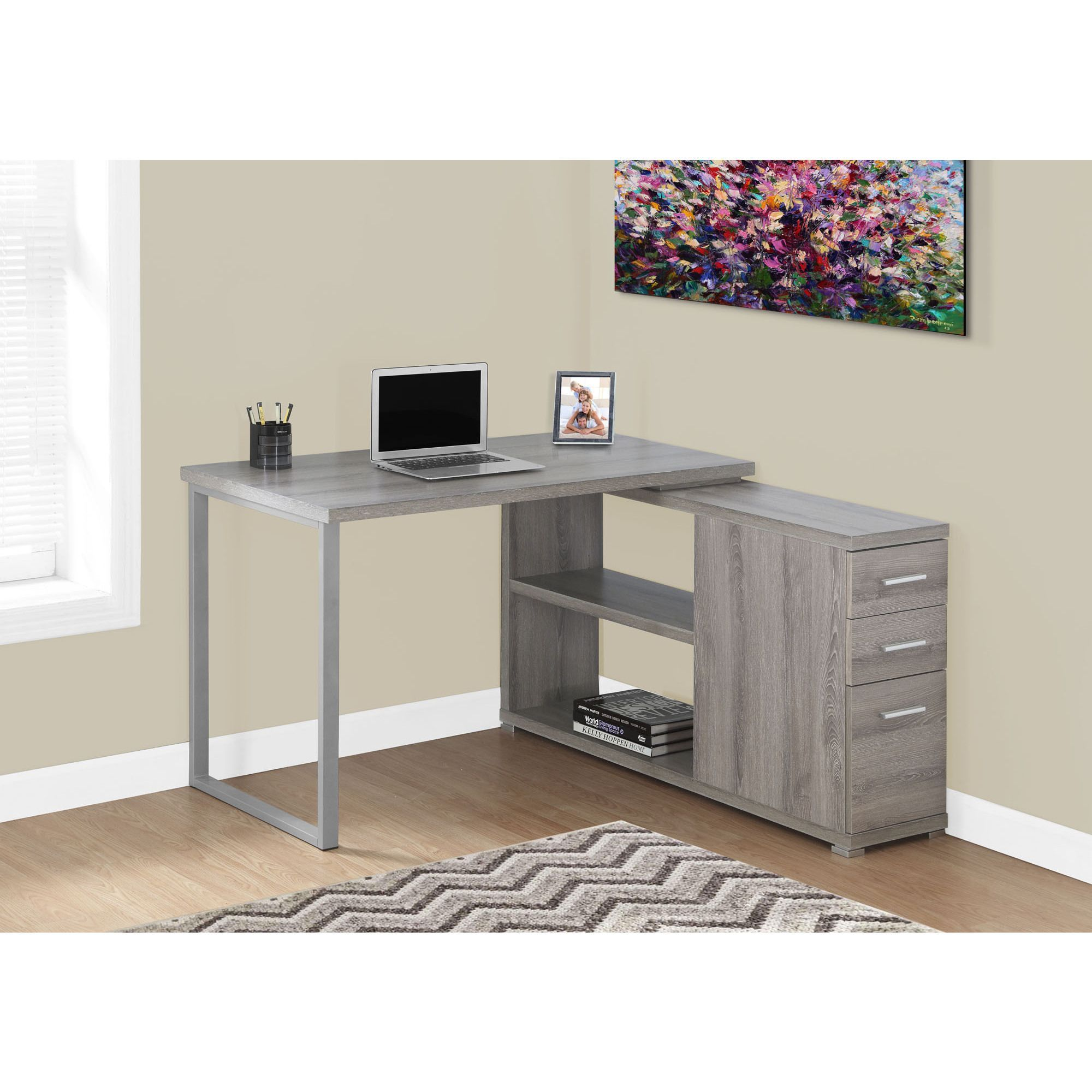 Dark taupe corner computer desk by monarch contemporary desk
