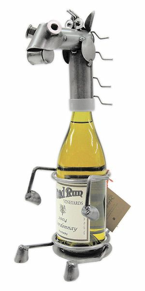 Yardbirds wine bottle holders. Made from recycled metal pieces. Made in the USA! Here at Frogmore!  #Yardbirds #wine