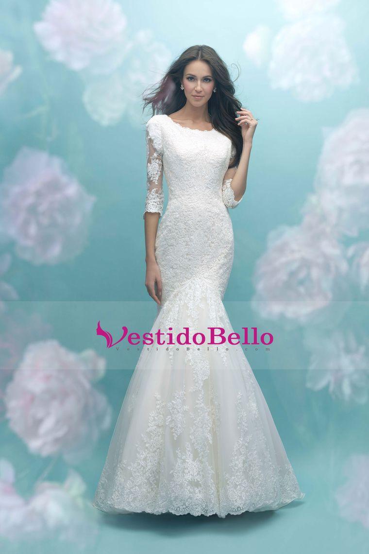 2017 3/4 longitud mangas vestidos de novia cucharada de tul con ...