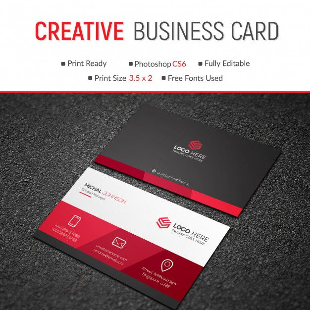Elegant Red Business Card Premium Psd Design Business Cards