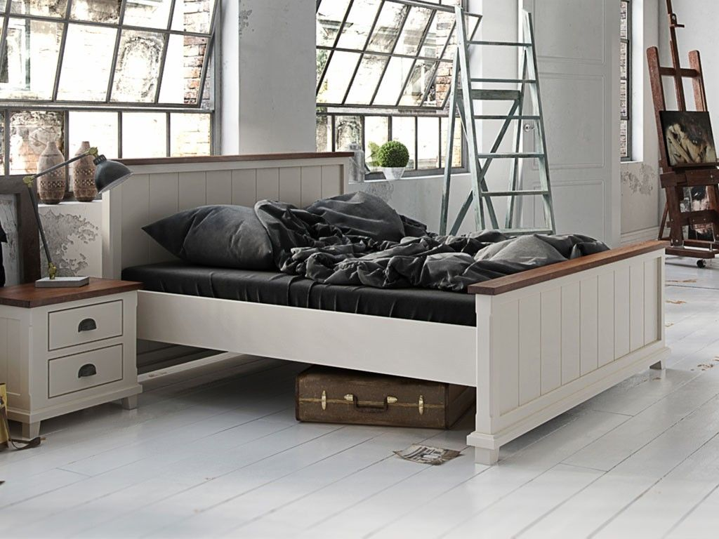 Doppelbett / Gästebett 06 massiv weiß / braun Abmessung