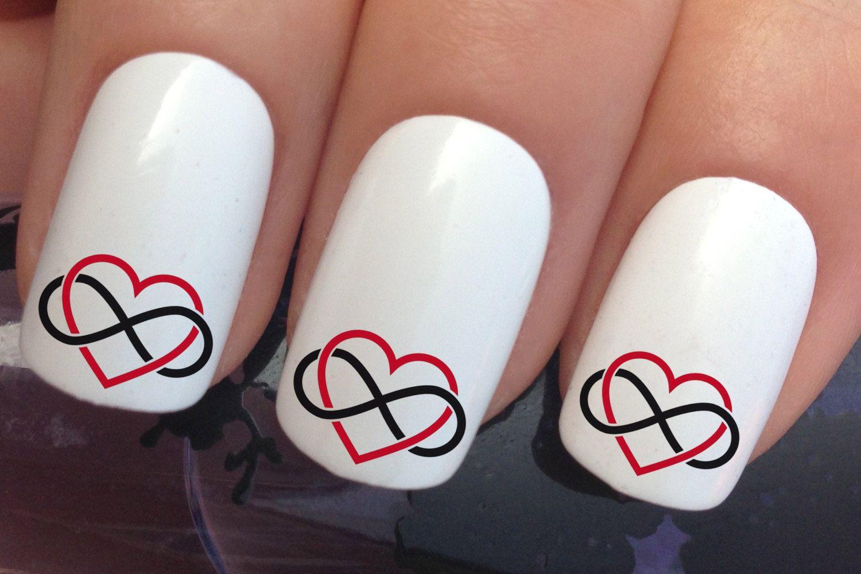 Nail Art Set 685 X20 Valentines Day Infinity Symbol Transfer Decals
