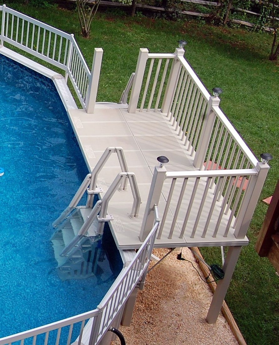 Above ground pool deck kits roselawnlutheran for Above ground pool decks photos