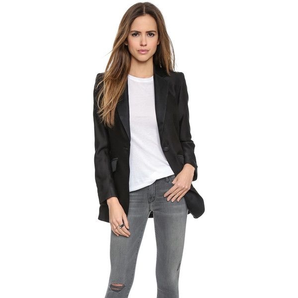 Laveer Sharp Blazer - Black featuring polyvore fashion clothing outerwear jackets blazers padded jacket lined jacket black blazer relaxed blazer black jacket