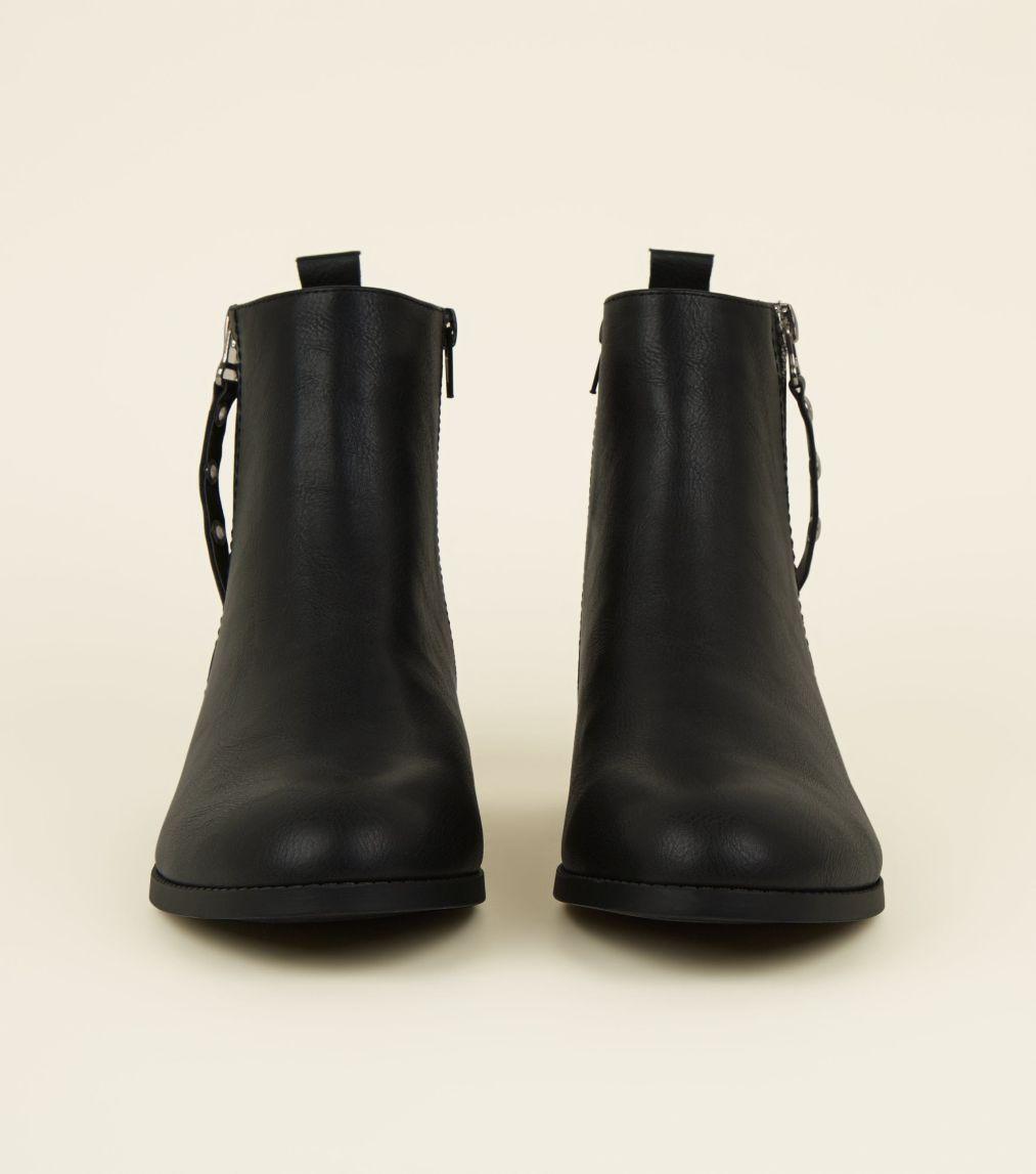 Wide Fit Black Eyelet Zip Side Flat Ankle Boots #skinnyjeansandankleboots
