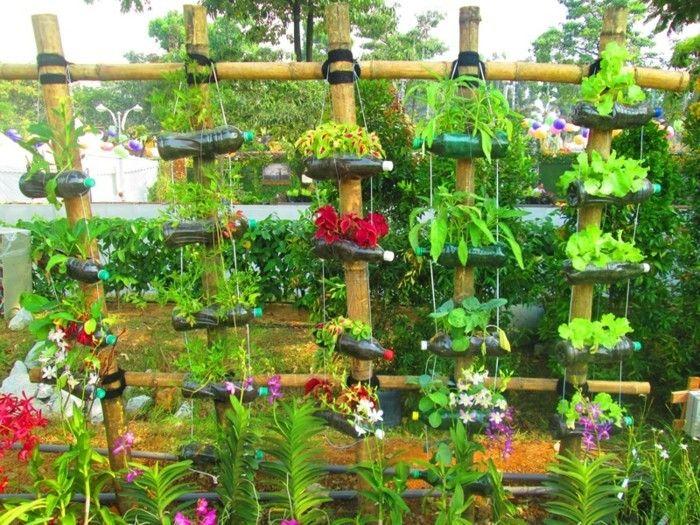 Schön Upcycling Ideen Mit Alten Plastikflaschen Für Den Garten Blumentöpfe