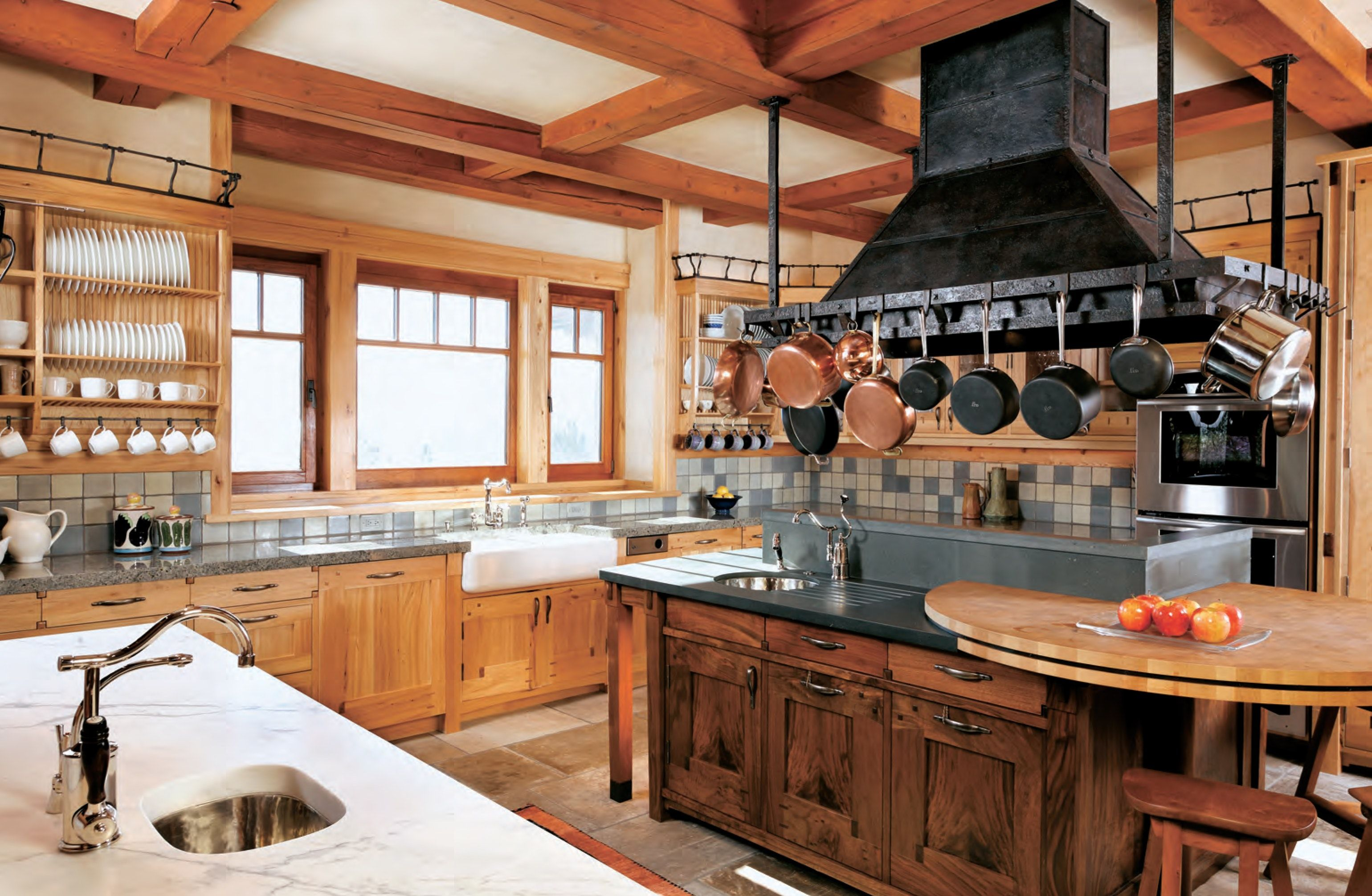 Aspen, CO - Kitchen: Reclaimed Western woods, hand-made Waterworks ...