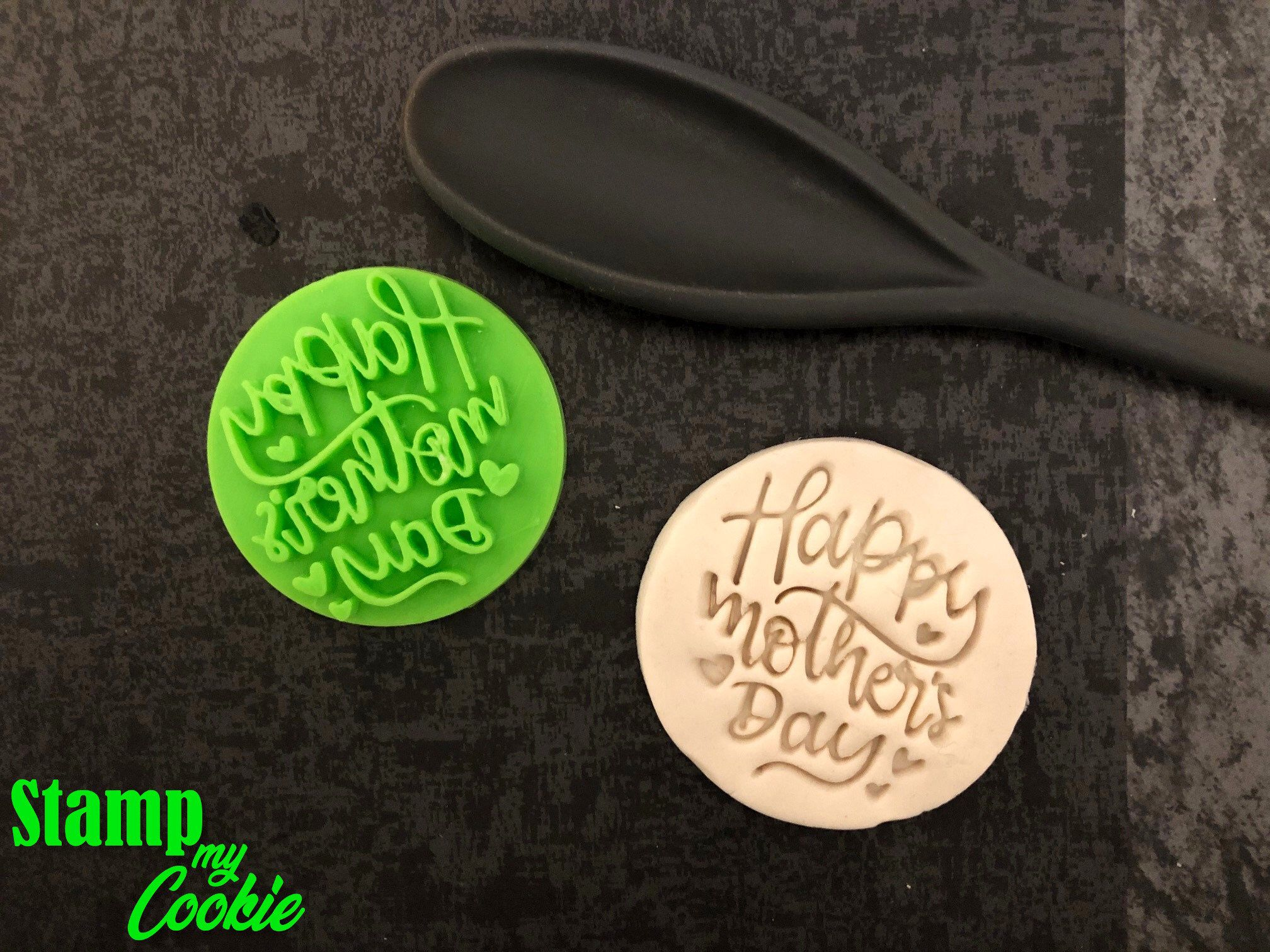 Happy Mothers Day Style 1 Cookie Embosser Fonadant Stamp Etsy Cookie Stamps Anniversary Cookies Wedding Cookies