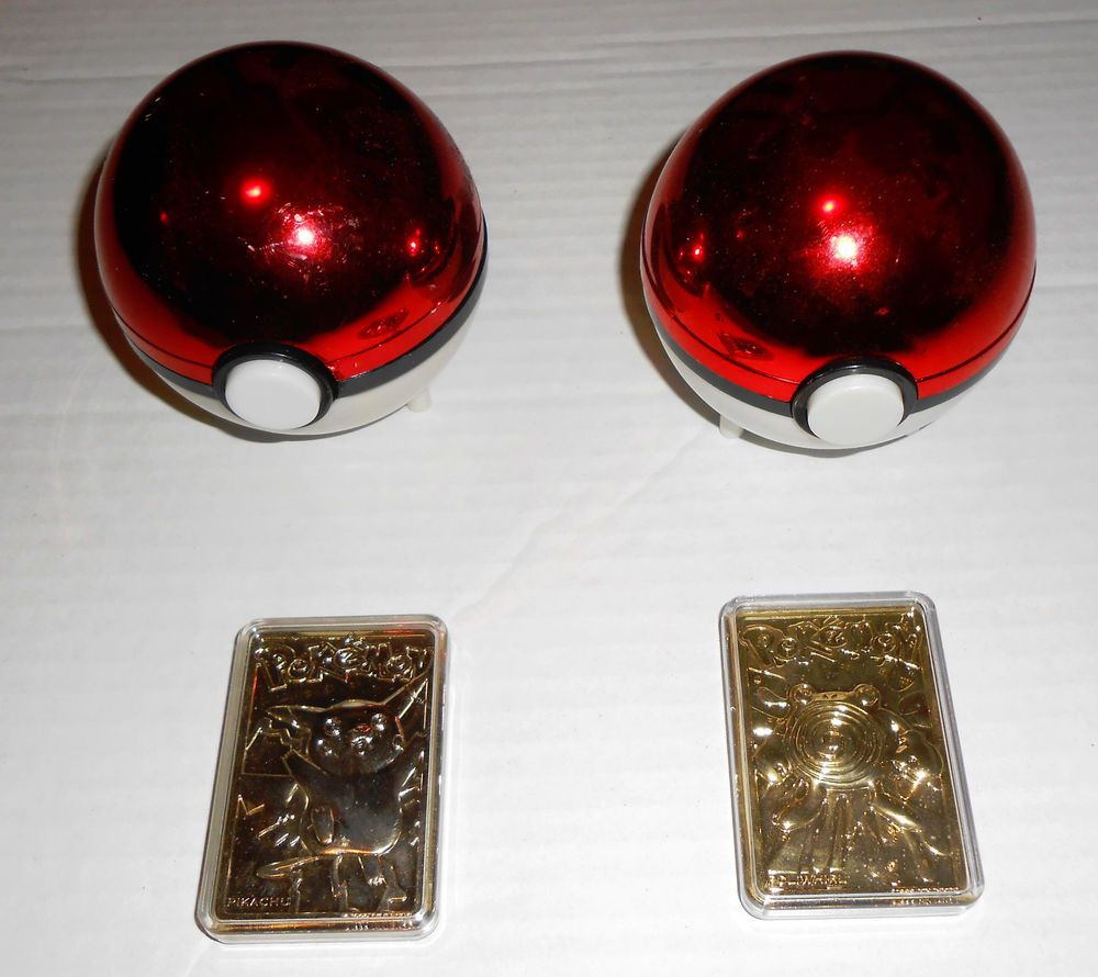 POKEMON Lot of 2 Gold Cards Pikachu Poliwhirl with Pokeballs Burger ...