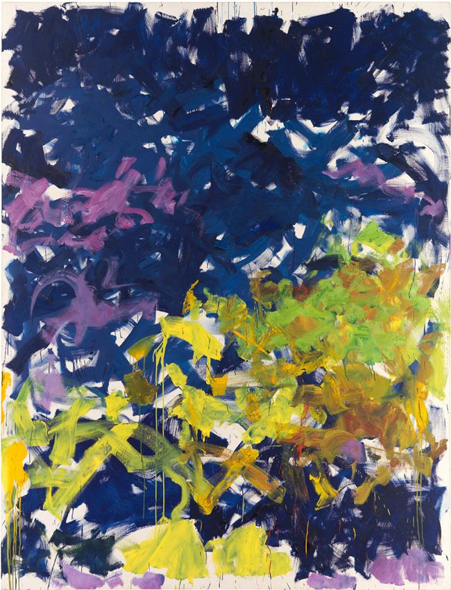 La Grande Vallée XVI, Pour Iva, 1983. Oil on canvas, 102 3/8 x 78 3/4 inches (260 x 200 cm). Collection of the Joan Mitchell Foundation, New York.