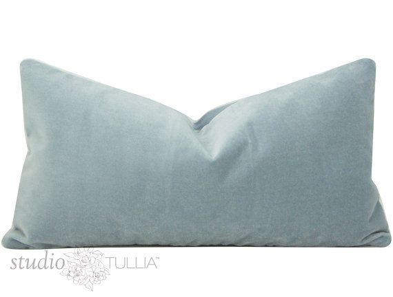 Sky Blue Velvet Pillow Cover Lumbar 11x21 Or 13x19 Light Blue Velvet Pillow Cover Ready To Ship O Velvet Pillows Velvet Pillow Covers Pillow Covers
