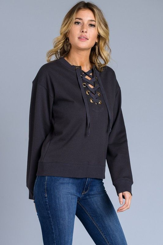 Nova Lace Up Sweatshirt - Black  63761f8f1