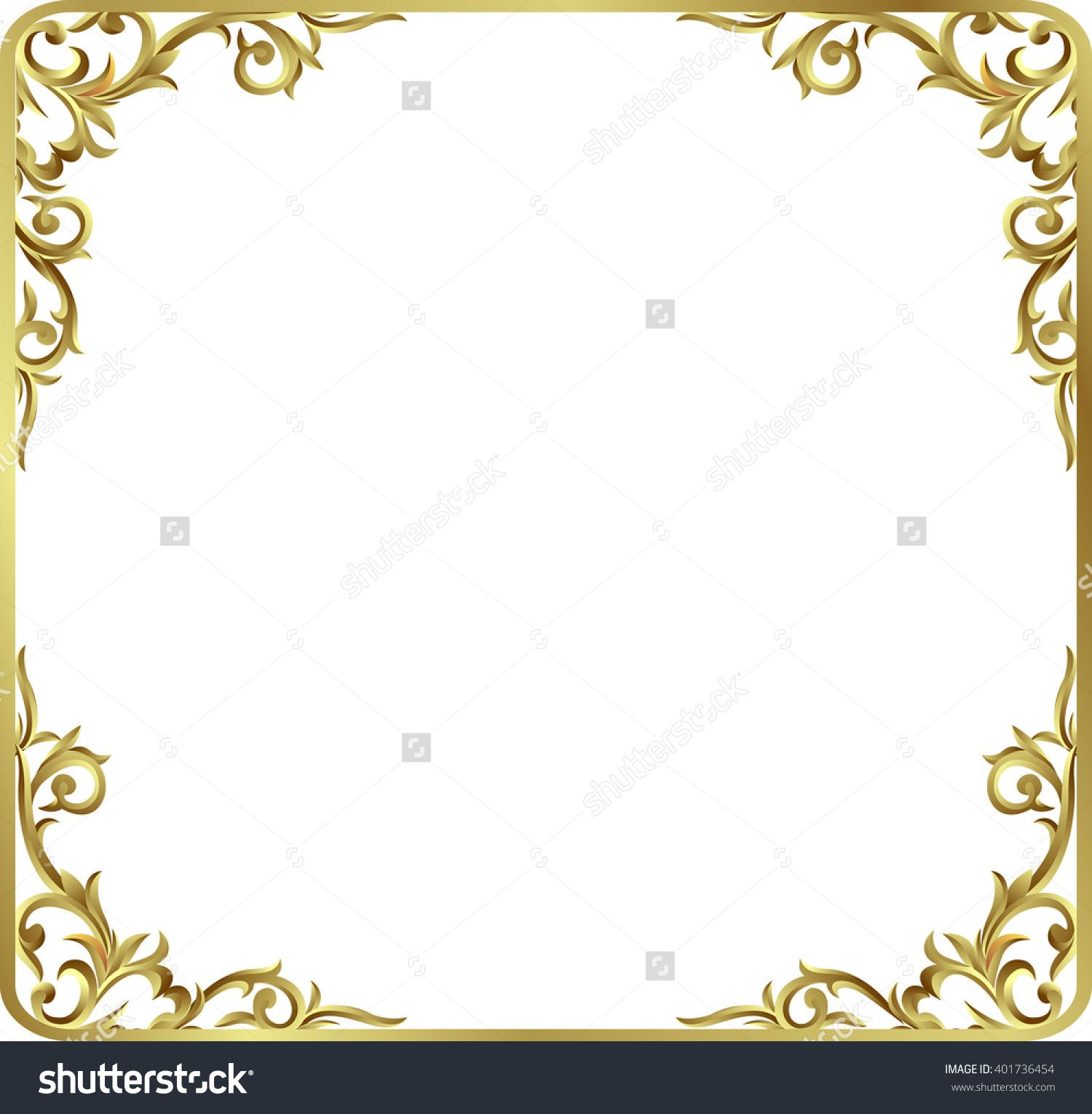 Corner gold vintage baroque frame scroll ornament for Baroque design elements