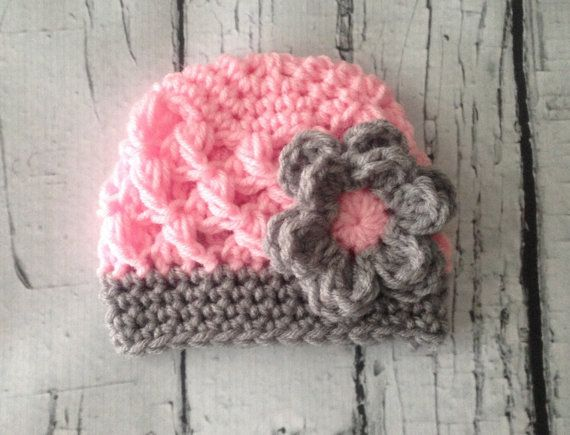 Baby Girl Crochet Beanie Pink And Grey Hat For Girls Newborn