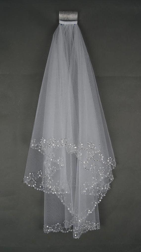 Sequin And Bead Edge Elbow Length Wedding Veil Diamond White