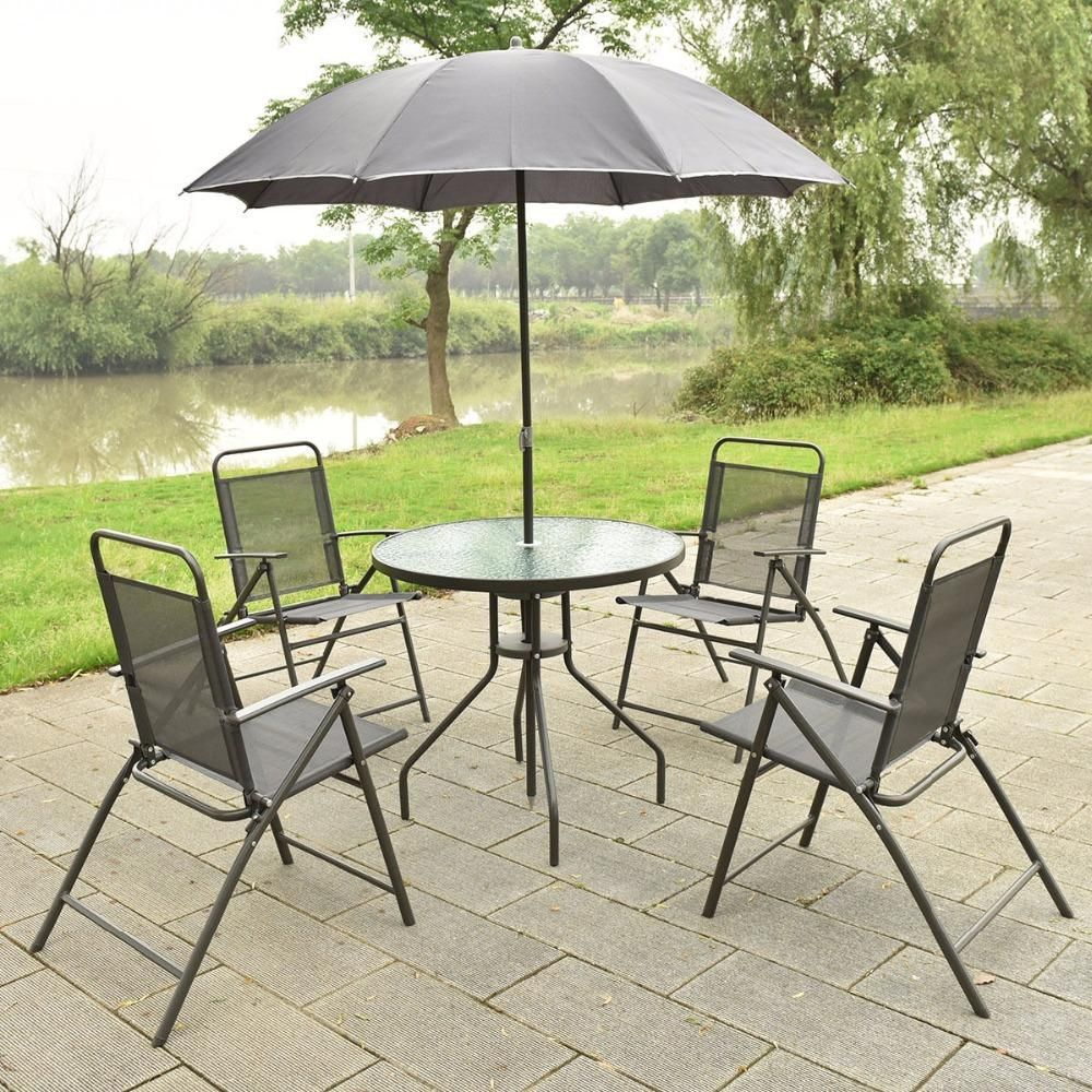 6 Pcs Patio Garden Set Furniture 4 Folding Chairs Table With Umbrella Gray New Hw52116 Poolside Dining Set Outdoor Dining Set Gray Patio Furniture