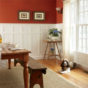 Dog Sitting On Floor In Wainscoting Paneled Rustic Room Red Dining All About IdeasWainscoting