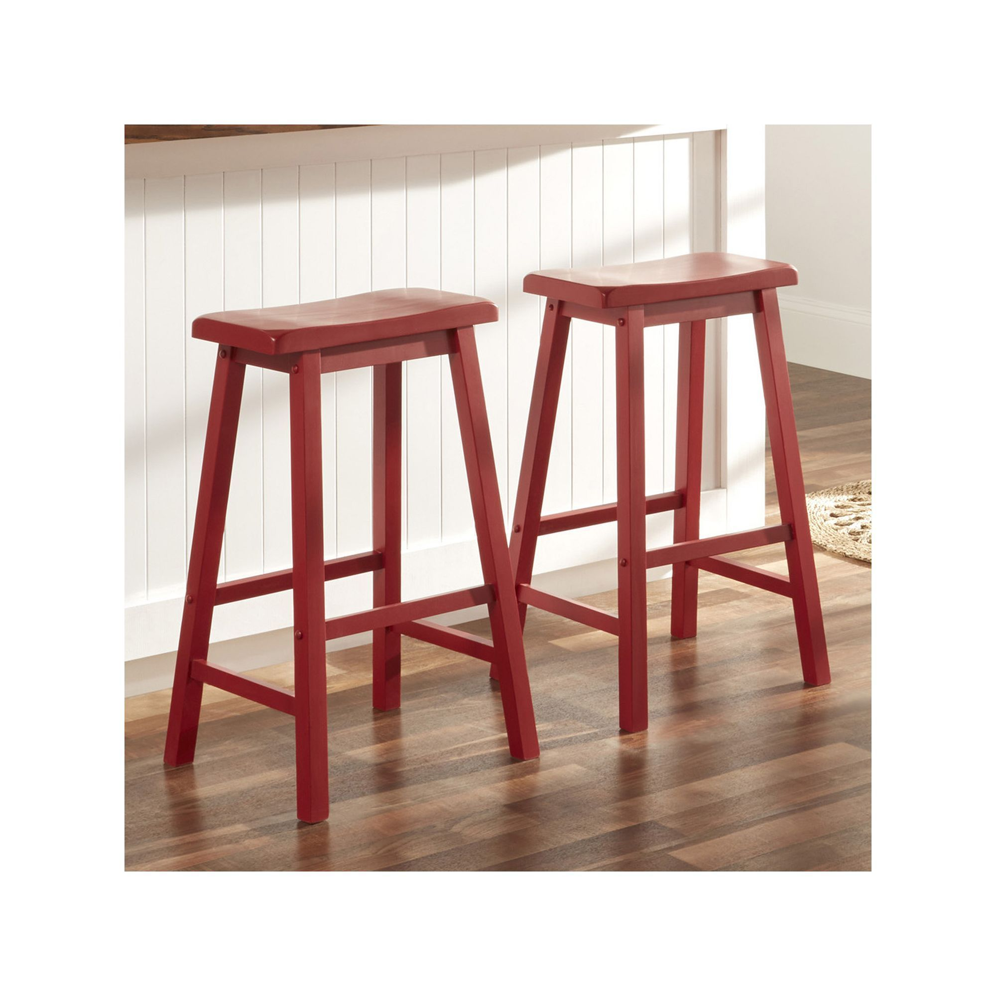 HomeVance 2-piece Reagan Saddle Bar Stool Set, Red | Products ...