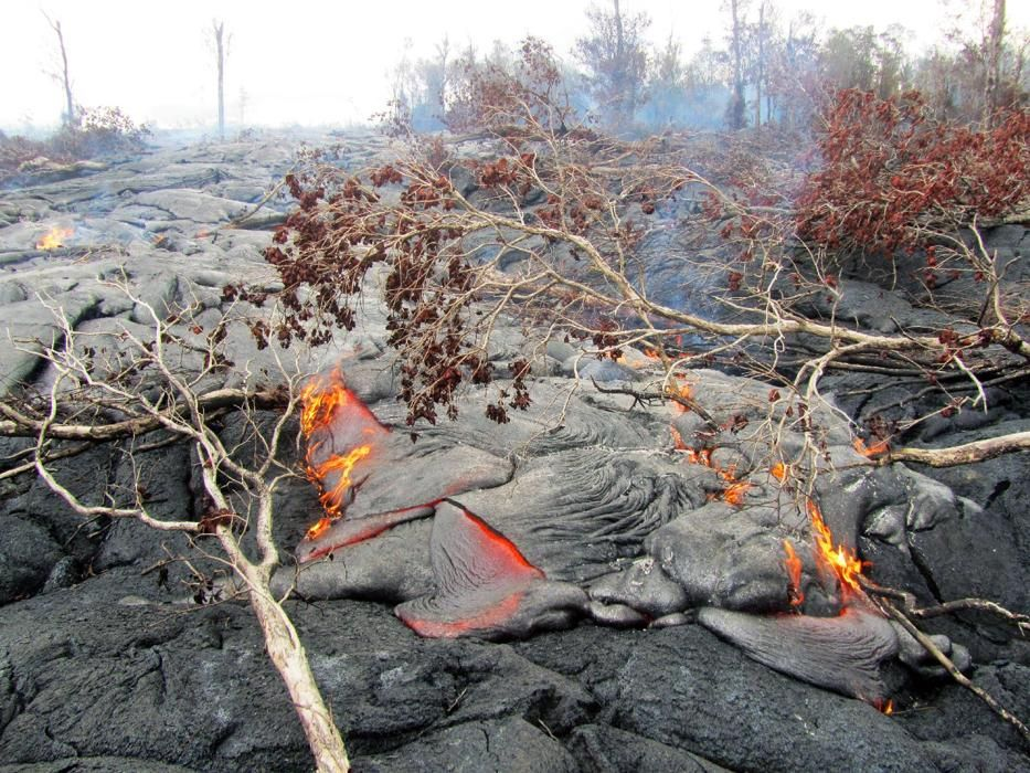 This Monday, Sept. 15, 2014, photo provided by the U.S. Geological Survey shows a close view of the surface activity from the June 27th flow from the Kilauea volcano in Pahoa, Hawaii. (AP Photo/U.S. Geological Survey)