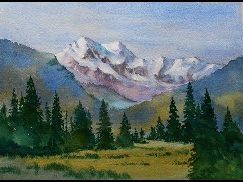 snow capped mountain landscape watercolor painting done in