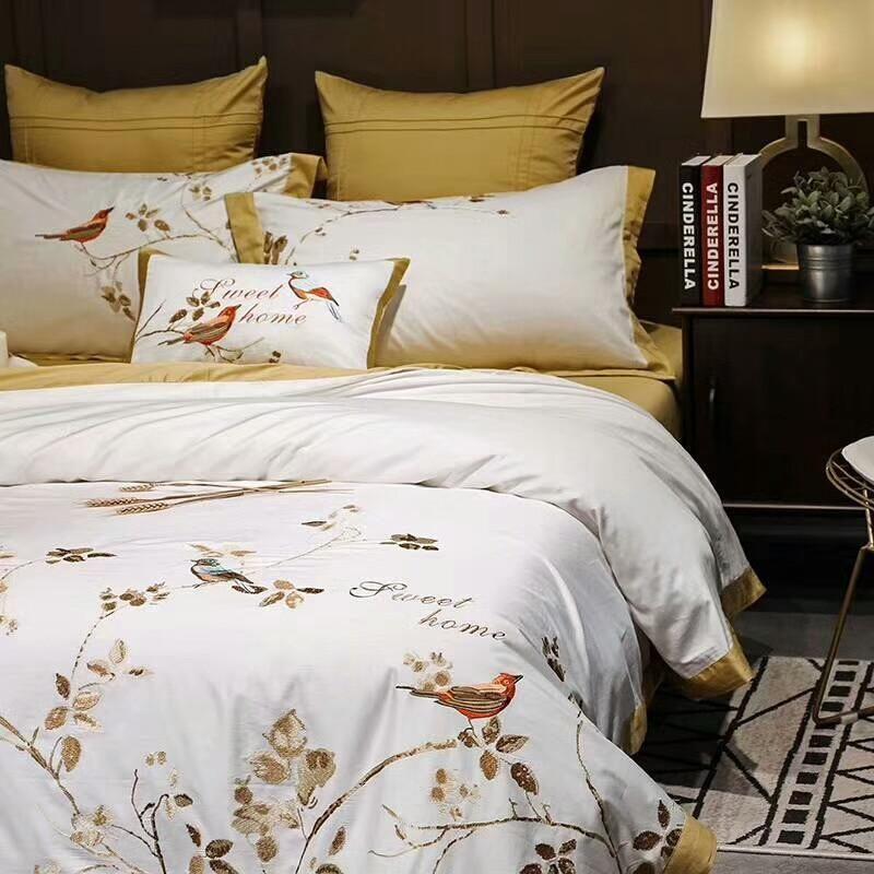 Yellow White Luxury Egyptian Cotton Oriental Bedding Sets I Sell