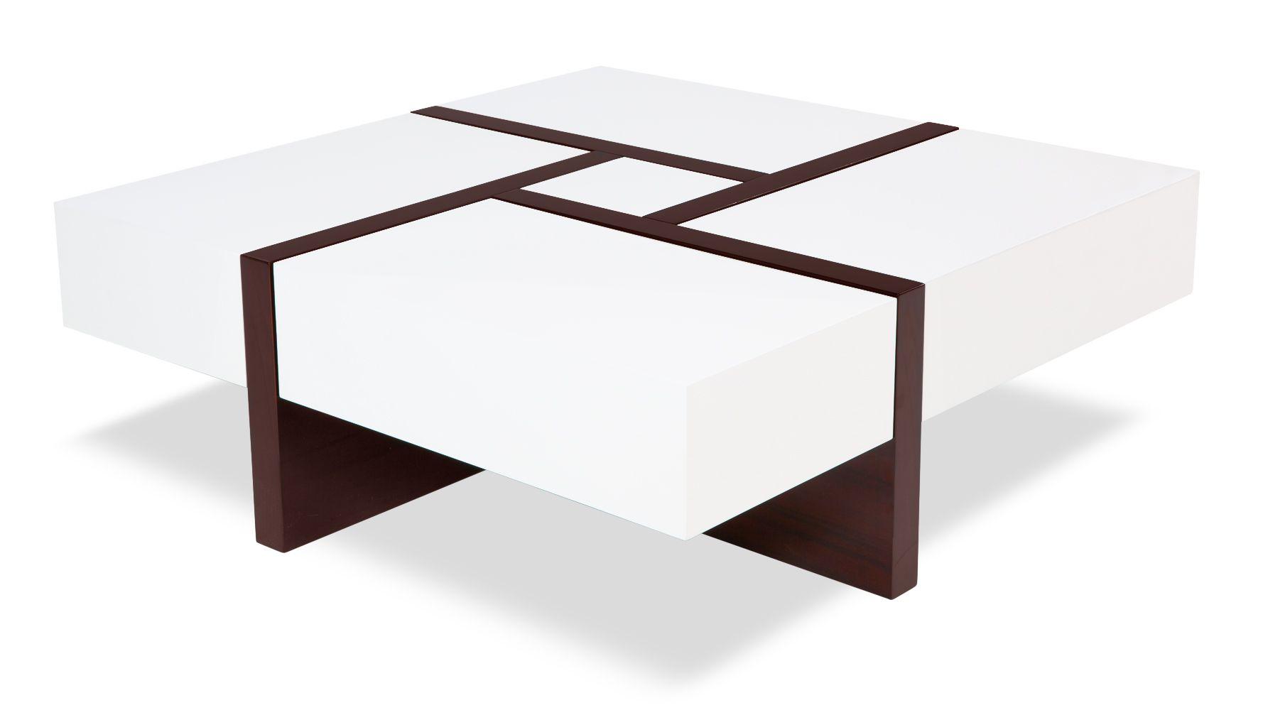 Mcintosh High Gloss Coffee Table with Storage - White Square | Zuri Furniture