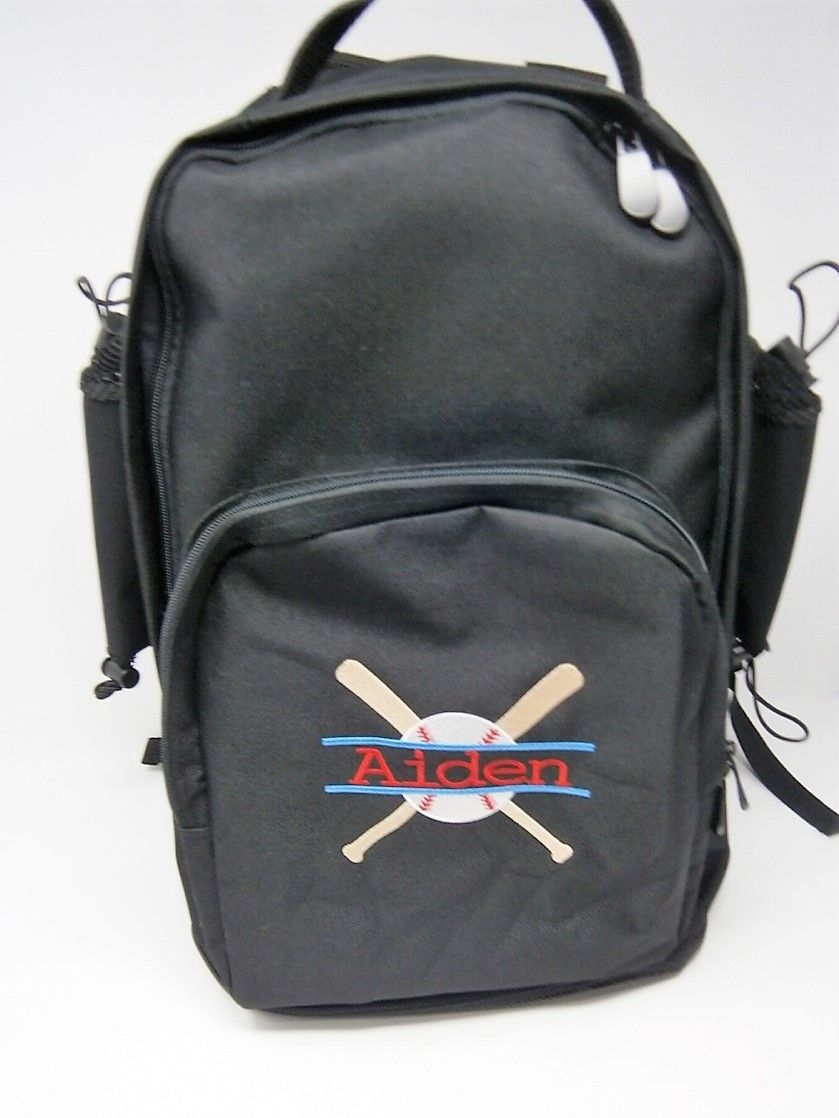 47c615076642 Monogrammed Sports Bags-Bat Bag Expandable Bat Bag for Shoes in the Bottom  and 2 Bats on the sides.LOTS of room in the Middle