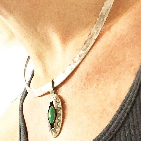 (Use 10% off Discount Code: SugarPin2016)   A dynamic duo! - Vintage Navajo WIlbur Tracy Hammered Sterling Silver Collar Necklace with a signed Navajo Sterling silver  and green turquoise shadowbox pendant ... Beautiful Together!   $160  sugardrawers.etsy.com