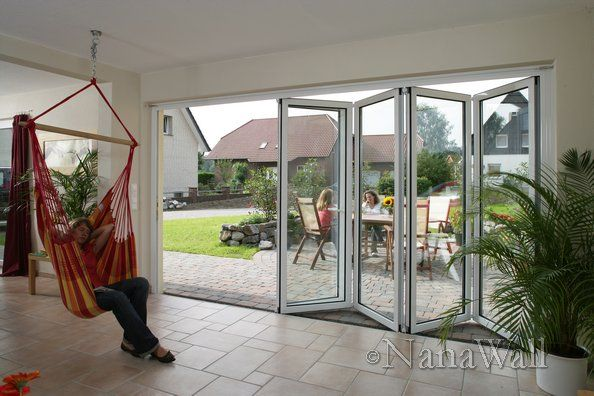 Sleeping Hammock In An Indoor Outdoor E With Sliding Gl Doors From Nanawall