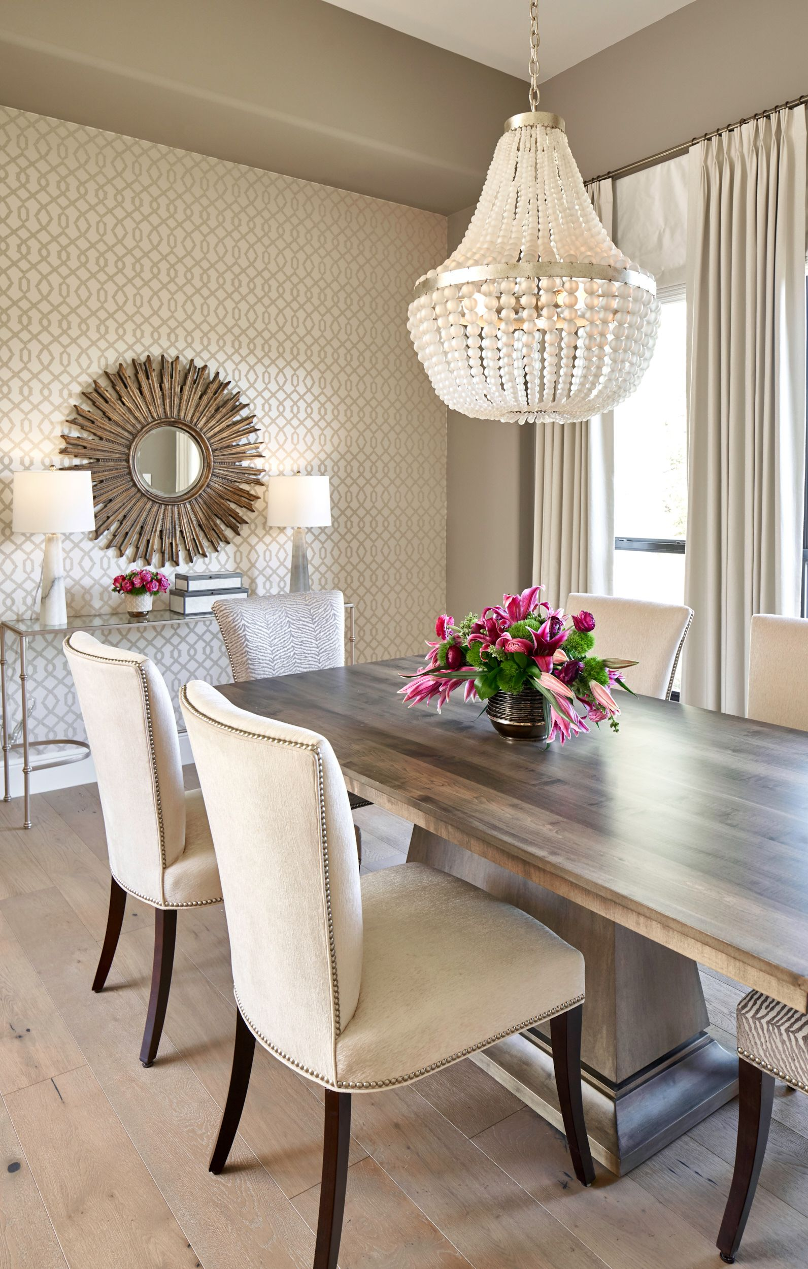Transitional Dining Room with European White Oak Floors