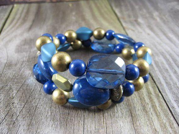 2 Row Memory Wire Bracelet Beaded Bracelet Acrylic Beads Blue and Gold Beads Handmade Jewelry Boho Jewelry #bestofEtsy #forsale