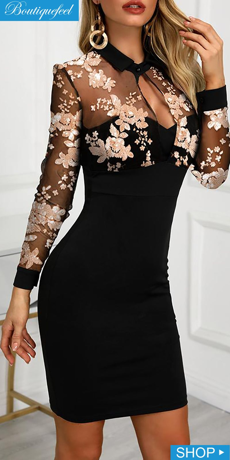 Photo of Mesh Floral Embroidery Bodycon Dress