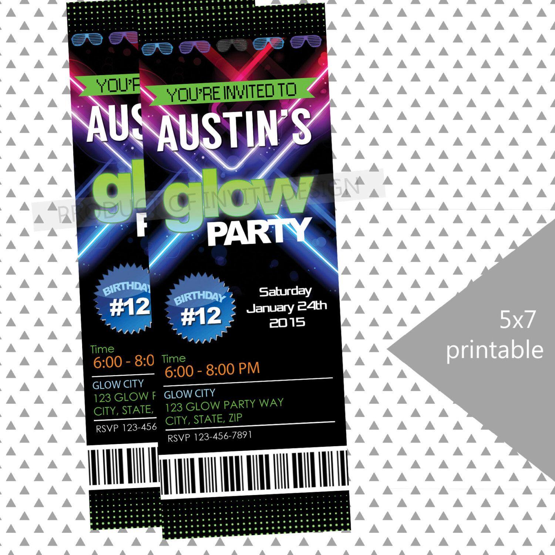 Neon Glow Party Invitation, DIY Printable Ticket Style Glow Party ...