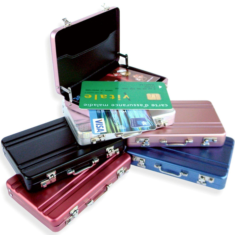 Mini Malette ARGENT Attached Case Porte Cartes Aluminium Visite - Porte carte rigide