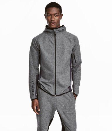 Hooded Sports Jacket | Dark gray melange | Men | H&M US | MAN ...
