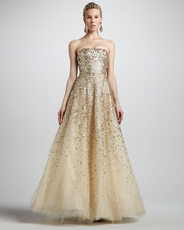 Oscar De La A Sequined Champagne Gown In 2019 Dresses