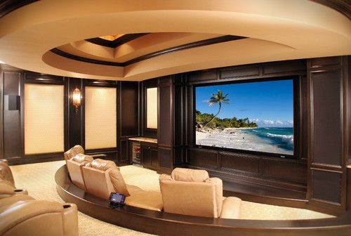 Norman residence mediterranean media room cleveland for Builders unlimited