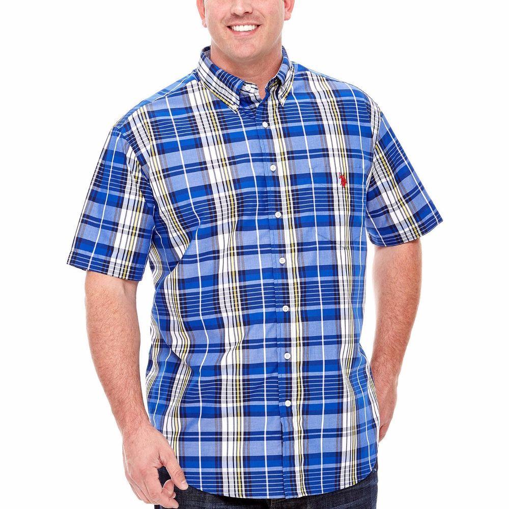 U S Polo Assn Mens Big Tall Woven Shirt Short Sleeve Plaid Blue size LT NEW 16.99 http://www.ebay.com/itm/-/232081680398?