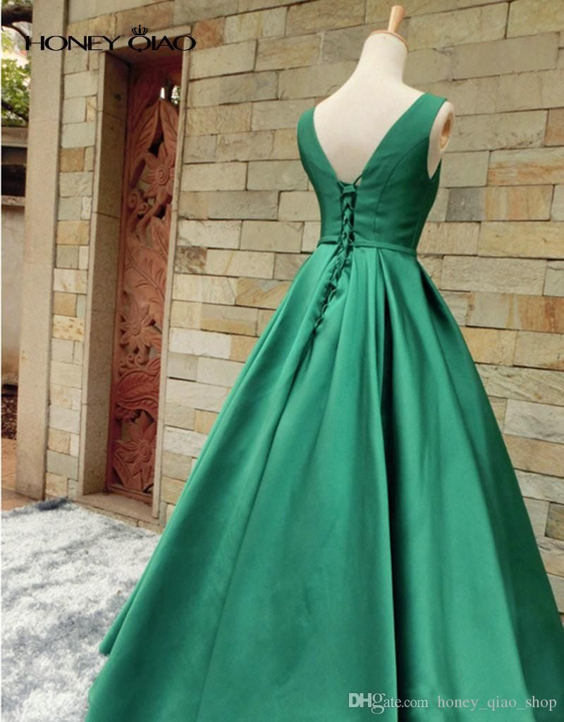 Simple Prom Dresses 2017 V Neck Ruched Satin Evening Gowns Lace Up ...