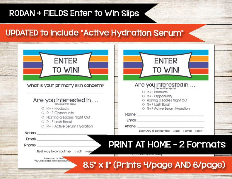 Rodan And Fields  Enter To Win  Door Prize Drawing Slip