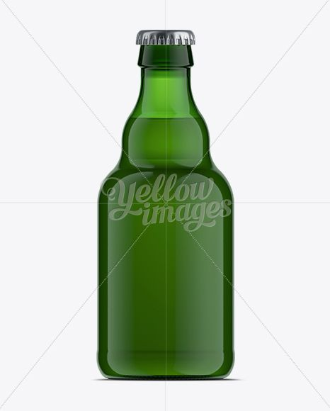 330ml Steinie Beer Bottle Mockup / Green Glass