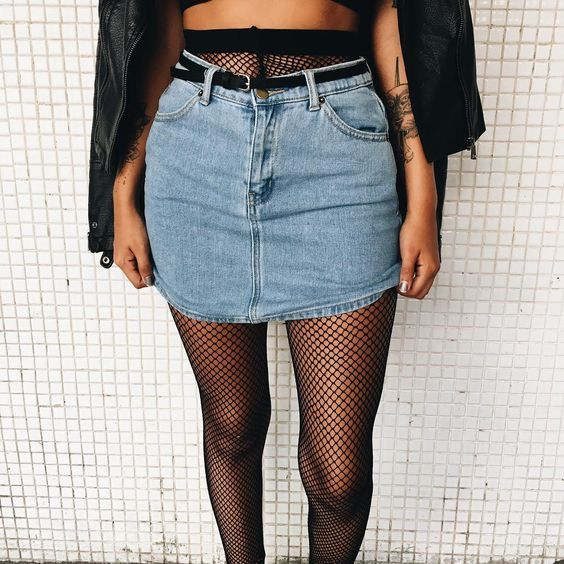 Catching This Grunge Look Trend Denim X Fishnet | Grunge Outfits Bralets And Fishnet Tights