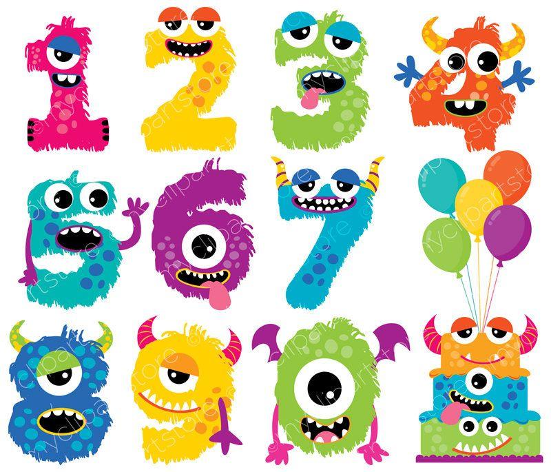 Monster Numbers Girl Cute Monster Clipart Alphabet Monster