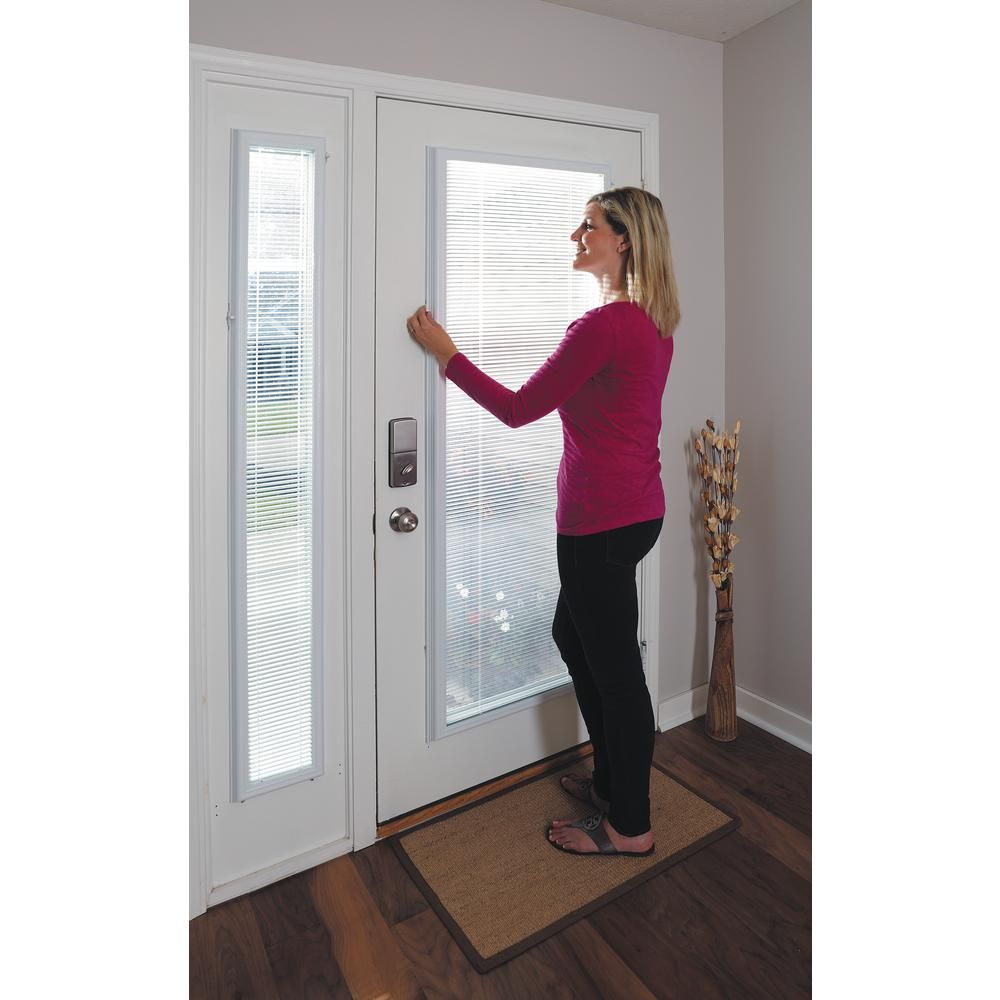 Odl White Cordless Add On Enclosed Aluminum Blinds With 1 2 In Slats For 7 In Wide X 64 In Length Side Light Door Windows Bwm76401 The Home Depot Patio Door Coverings