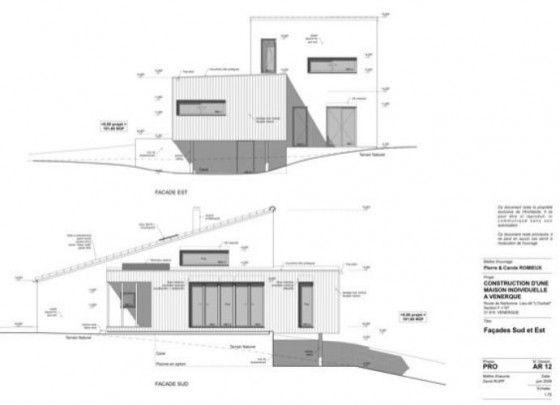 Plan facade maison bois monomur aca charpi construction espace maison modulaire maison - Plan coupe facade maison ...
