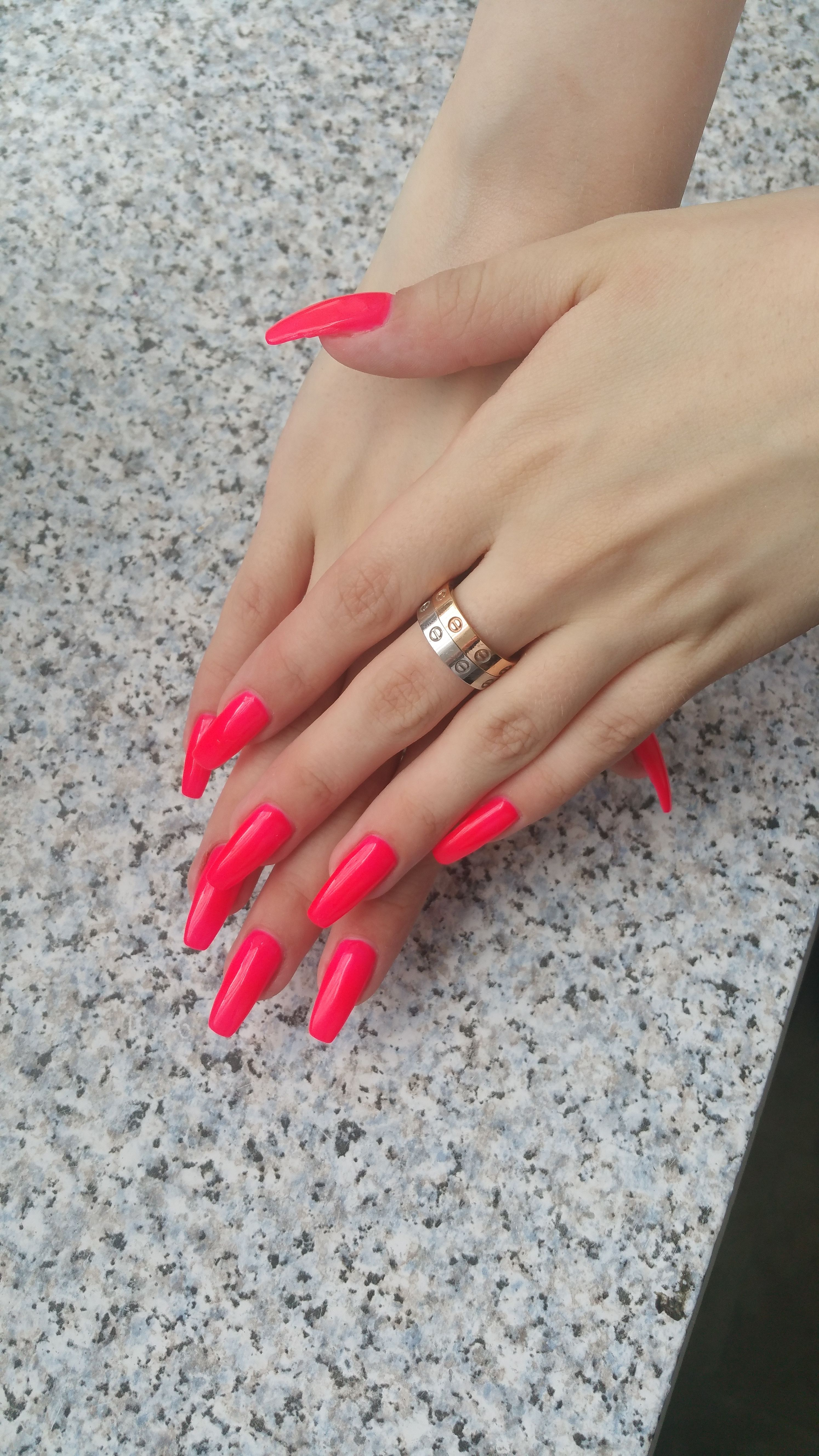 Neon Pink Coffin Nails With Images