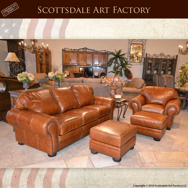 Custom Leather Sofa With Matching Leather Chair And Ottomans Full - Leather chairs and sofas
